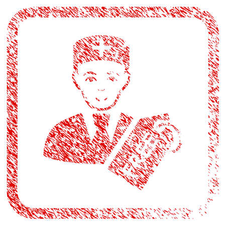 Free Doctor rubber seal imitation. Icon raster symbol with scratched design and unclean texture in rounded rectangle. Scratched red stamp imitation. Person face has smiling expression. Stock Photo