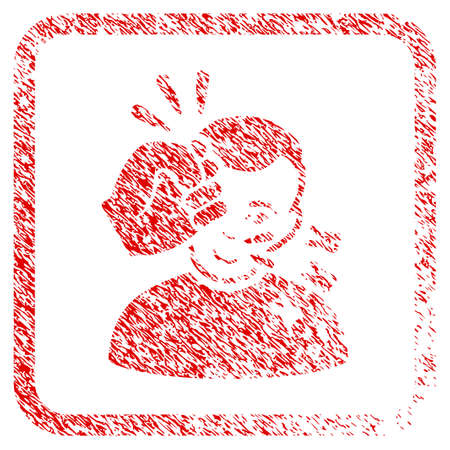 Head Strike rubber seal imitation. Icon raster symbol with scratched design and dust texture inside rounded square. Scratched red sign. Man face has glad emotions.