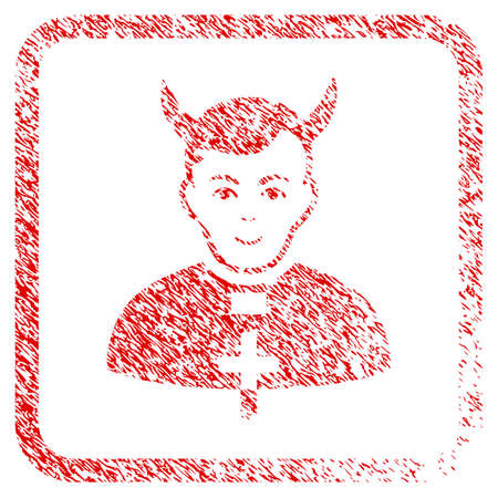 Devil Priest rubber seal imitation. Icon raster symbol with unclean design and dust texture inside rounded square frame. Scratched red sign. Male face has happiness sentiment.