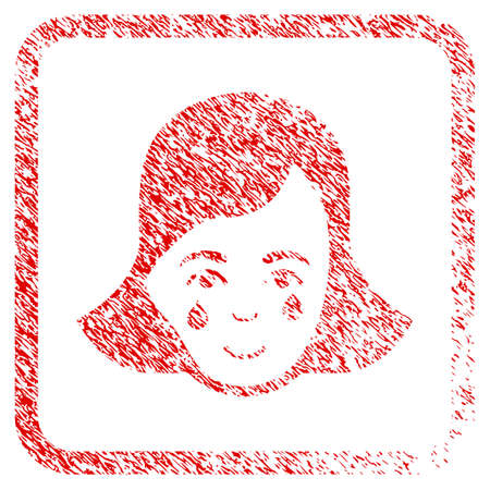 Crying Woman Face rubber seal stamp imitation. Icon raster symbol with unclean design and dirty texture inside rounded squared frame. Scratched red sticker. Dude face has positive expression. Stock Photo