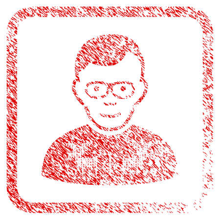 Nerd Guy rubber stamp watermark. Icon raster symbol with distress design and corrosion texture inside rounded squared frame. Scratched red sticker. Dude face has cheerful expression.