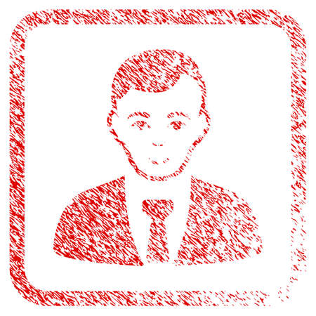 Businessman rubber seal watermark. Icon raster symbol with scratched design and unclean texture inside rounded square frame. Scratched red sign. Dude face has happiness expression.