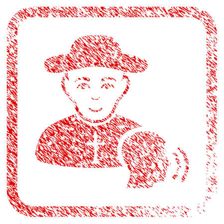 Believer Confession rubber seal watermark. Icon raster symbol with scratched design and dust texture inside rounded square frame. Scratched red emblem. Human face has enjoy feeling.
