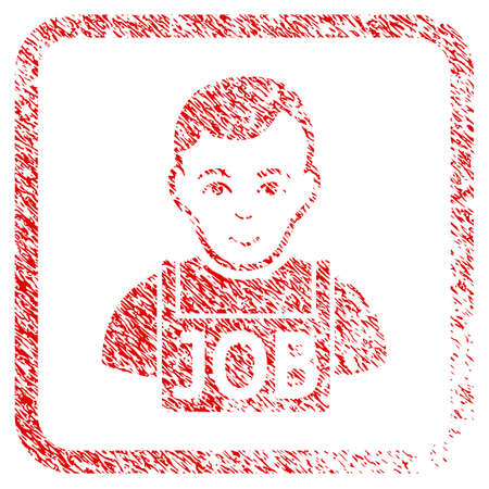 Jobless rubber stamp imitation. Icon raster symbol with distress design and dirty texture in rounded squared frame. Scratched red emblem. Person face has glad expression. Stock Photo