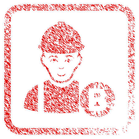 Bitcoin Miner rubber seal stamp imitation. Icon raster symbol with grunge design and dust texture in rounded square frame. Scratched red sign. Male face has gladness emotions.