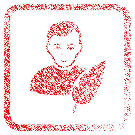 Feather Writer rubber seal watermark. Icon raster symbol with textured design and dust texture inside rounded rectangle. Scratched red stamp imitation. Human face has positive sentiment.