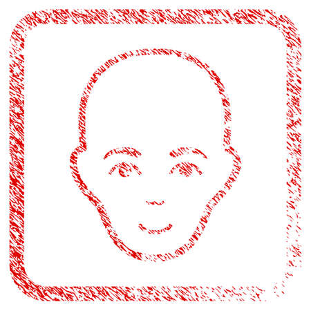 Bald Head rubber seal watermark. Icon raster symbol with scratched design and unclean texture inside rounded frame. Scratched red emblem. Person face has enjoy expression.