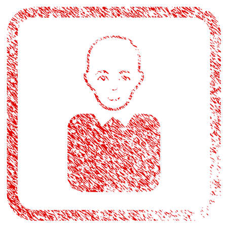 Bald Bureaucrat rubber stamp watermark. Icon raster symbol with grunge design and dust texture in rounded square. Scratched red sticker. Man face has joy emotion. Stock Photo