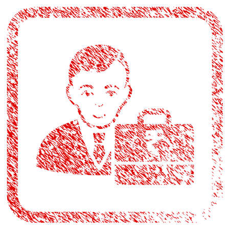 Rupee Accounter rubber stamp imitation. Icon raster symbol with grungy design and dirty texture inside rounded square frame. Scratched red emblem. Male face has smiling mood.