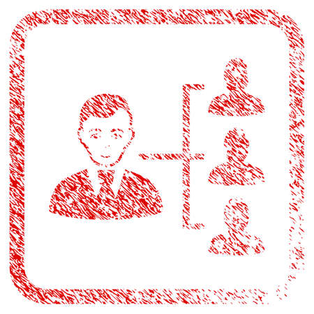 Distribution Manager rubber seal watermark. Icon raster symbol with grunge design and dirty texture in rounded rectangle. Scratched red sign. Male face has happiness emotion.