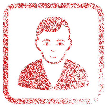 Man rubber stamp imitation. Icon raster symbol with distress design and dirty texture in rounded rectangle. Scratched red emblem. Dude face has joy sentiment. a boy from man with enjoy face.
