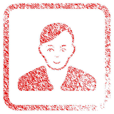 Guy rubber seal watermark. Icon raster symbol with distress design and dust texture inside rounded square frame. Scratched red sticker. Human face has joy feeling. a guy from guy with smiling face.