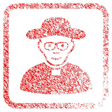 Church Shepherd rubber seal imitation. Icon raster symbol with grunge design and unclean texture in rounded frame. Scratched red sticker. Male face has joyful sentiment.