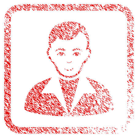Guy rubber seal imitation. Icon raster symbol with grungy design and unclean texture in rounded square. Scratched red sign. Dude face has enjoy emotions. a male person from guy with happiness face.