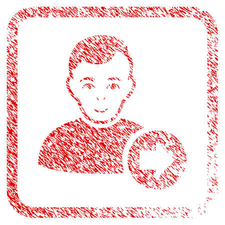 Following User rubber stamp imitation. Icon raster symbol with unclean design and dust texture inside rounded square frame. Scratched red sticker. Man face has smiling feeling.