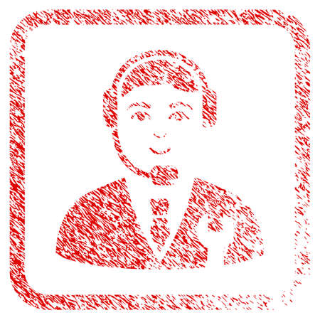 Call Center Boss rubber stamp imitation. Icon raster symbol with grungy design and dust texture in rounded squared frame. Scratched red sticker. Person face has joy feeling.