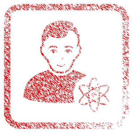 Atomic Scientist rubber seal imitation. Icon raster symbol with distress design and unclean texture in rounded frame. Scratched red sticker. Guy face has gladness feeling. Stock Photo