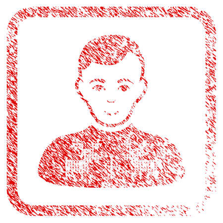 Deers Pullover Boy rubber seal stamp imitation. Icon raster symbol with scratched design and dirty texture inside rounded squared frame. Scratched red sign. Male face has cheerful sentiment.