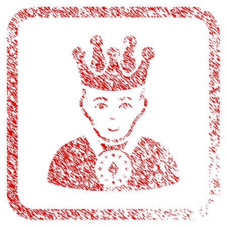 King rubber stamp watermark. Icon raster symbol with unclean design and corrosion texture inside rounded square frame. Scratched red stamp imitation. Dude face has positive emotion. Stock Photo