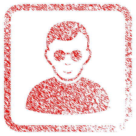 Blind Man rubber seal imitation. Icon raster symbol with distress design and dust texture in rounded square frame. Scratched red sticker. Dude face has enjoy mood.