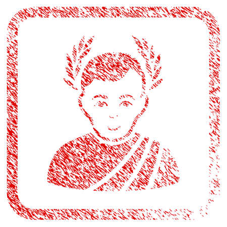 Caesar Wreath rubber stamp imitation. Icon raster symbol with textured design and unclean texture inside rounded frame. Scratched red sign. Dude face has happiness sentiment.