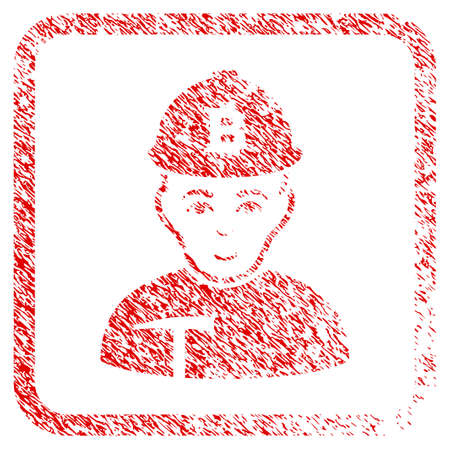Bitcoin Miner rubber seal watermark. Icon raster symbol with distress design and corrosion texture in rounded rectangle. Scratched red sticker. Dude face has enjoy feeling. Stock Photo
