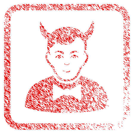 Devil rubber stamp imitation. Icon raster symbol with grunge design and corrosion texture in rounded square frame. Scratched red emblem. Person face has glad emotions.