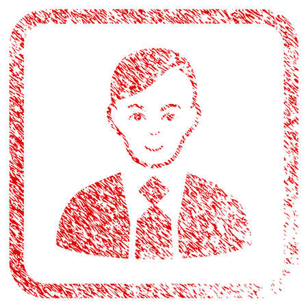 Fuhrer rubber seal stamp watermark. Icon raster symbol with textured design and dirty texture in rounded square. Scratched red sticker. Dude face has gladness emotions. Stock Photo