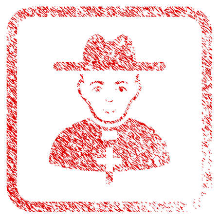 Catholic Priest rubber stamp watermark. Icon raster symbol with grungy design and dirty texture in rounded frame. Scratched red stamp imitation. Man face has happy sentiment. Stock Photo