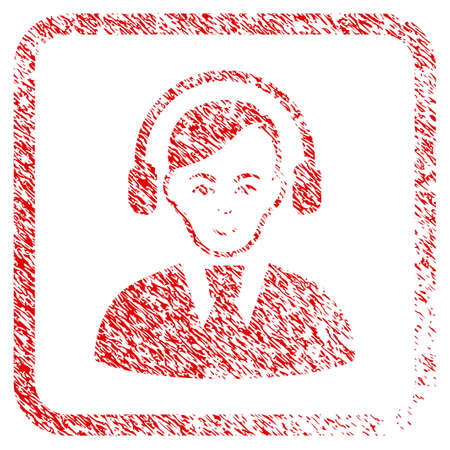 Call Center Operator rubber seal imitation. Icon raster symbol with grunge design and corrosion texture inside rounded rectangle. Scratched red sticker. Person face has happiness emotion. Stock Photo