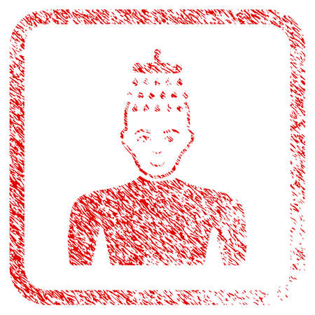Man Shower rubber stamp imitation. Icon raster symbol with textured design and dust texture inside rounded squared frame. Scratched red sign. Boy face has happiness feeling.
