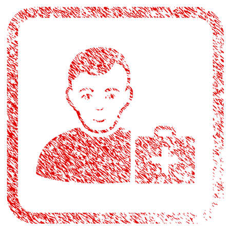 First-Aid Man rubber seal imitation. Icon raster symbol with grungy design and corrosion texture in rounded square. Scratched red sticker. Human face has gladness emotion.