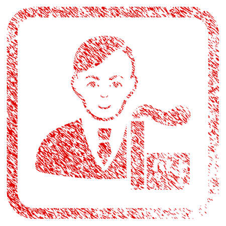 Capitalist Oligarch rubber seal stamp imitation. Icon raster symbol with unclean design and unclean texture in rounded square. Scratched red stamp imitation. Human face has positive feeling.