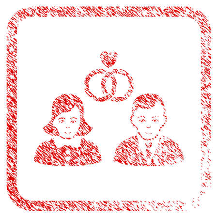 People Marriage rubber seal stamp imitation. Icon raster symbol with grunge design and corrosion texture inside rounded squared frame. Scratched red sticker. Human face has enjoy mood.