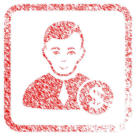 Commercial Lawyer rubber stamp imitation. Icon raster symbol with grunge design and unclean texture inside rounded square. Scratched red stamp imitation. Human face has joyful emotion. Stock Photo