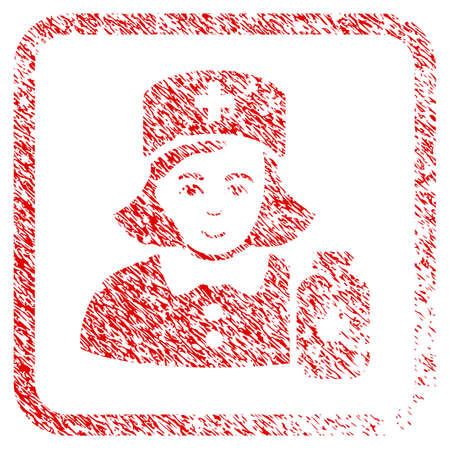 Apothecary Lady rubber seal stamp watermark. Icon raster symbol with scratched design and corrosion texture inside rounded frame. Scratched red sticker. Boy face has glad mood.