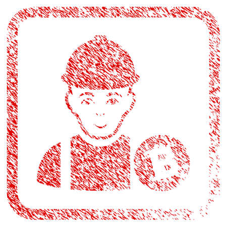 Bitcoin Miner rubber stamp watermark. Icon raster symbol with grunge design and dust texture in rounded rectangle. Scratched red emblem. Boy face has joyful mood.