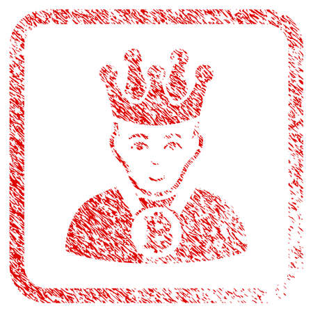 Bitcoin King rubber seal imitation. Icon raster symbol with unclean design and corrosion texture in rounded rectangle. Scratched red sticker. Boy face has glad feeling.