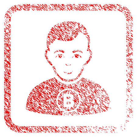 Bitcoin Man rubber stamp imitation. Icon raster symbol with grungy design and corrosion texture in rounded frame. Scratched red sign. Guy face has positive expression. Stock Photo