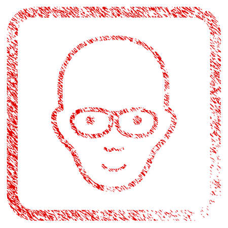Bald Head rubber seal imitation. Icon raster symbol with grungy design and dust texture in rounded squared frame. Scratched red sticker. Male face has joy mood.