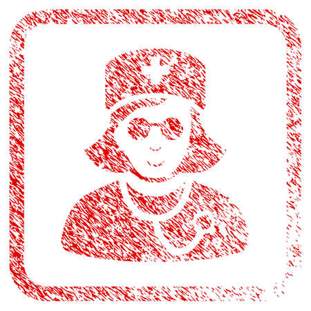 Blind Nurse rubber stamp imitation. Icon raster symbol with textured design and corrosion texture inside rounded frame. Scratched red sticker. Man face has cheerful emotions.