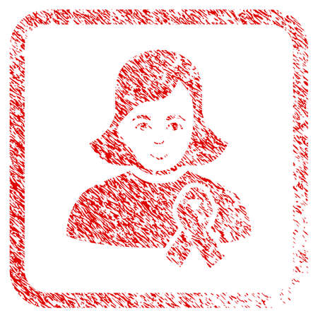 Girl With Sympathy Ribbon rubber seal imitation. Icon raster symbol with textured design and unclean texture inside rounded square. Scratched red emblem. Man face has cheerful emotion.