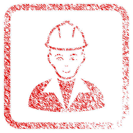 Engineer rubber seal stamp watermark. Icon raster symbol with grunge design and dirty texture inside rounded rectangle. Scratched red stamp imitation. Male face has glad emotion.