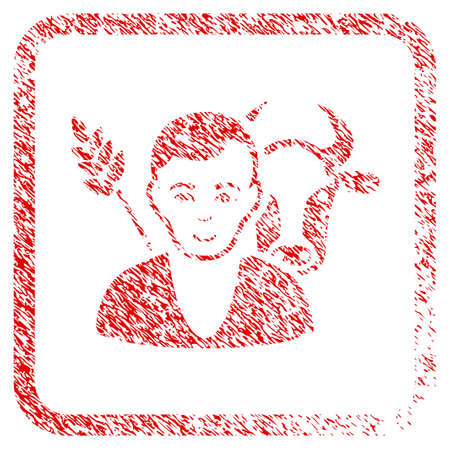 Farmer rubber seal stamp imitation. Icon raster symbol with unclean design and dust texture in rounded frame. Scratched red stamp imitation. Human face has happy emotion.