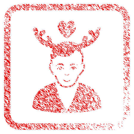 Deceived Horned Husband rubber seal imitation. Icon raster symbol with grungy design and unclean texture inside rounded square. Scratched red sign. Human face has gladness expression.
