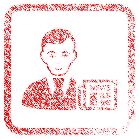 Businessman News rubber seal watermark. Icon raster symbol with unclean design and dust texture in rounded square. Scratched red sign. Man face has gladness expression. Stock Photo