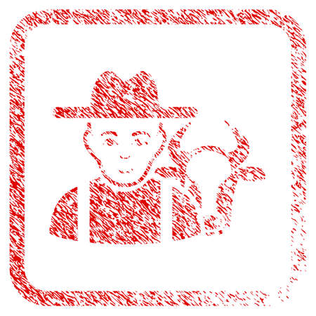 Cattle Farmer rubber seal stamp imitation. Icon raster symbol with unclean design and corrosion texture in rounded square frame. Scratched red sign. Boy face has glad emotions.