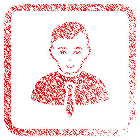 Businessman rubber stamp imitation. Icon raster symbol with scratched design and corrosion texture in rounded square. Scratched red sign. Boy face has positive expression.