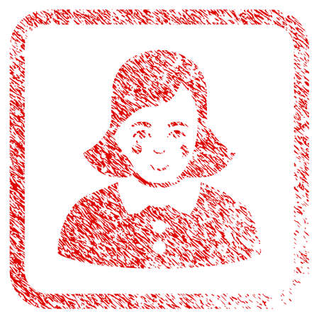 Crying Woman rubber seal stamp imitation. Icon raster symbol with unclean design and corrosion texture in rounded square. Scratched red sticker. Guy face has smiling mood.
