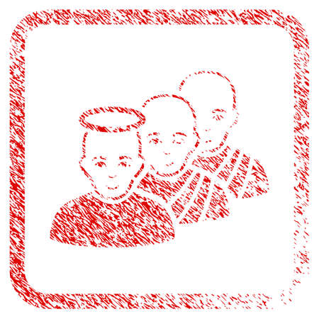 Holy Men rubber seal stamp imitation. Icon raster symbol with textured design and corrosion texture inside rounded square frame. Scratched red stamp imitation. Dude face has enjoy expression. Stock Photo
